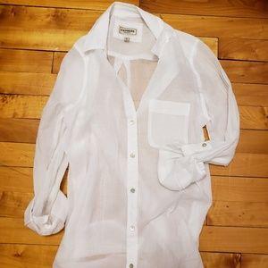 Express Thin White Cotton Boyfriend Button Up